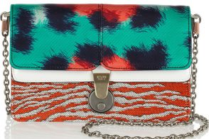 Kenzo Patchwork Leather and Twill Shoulder Bag