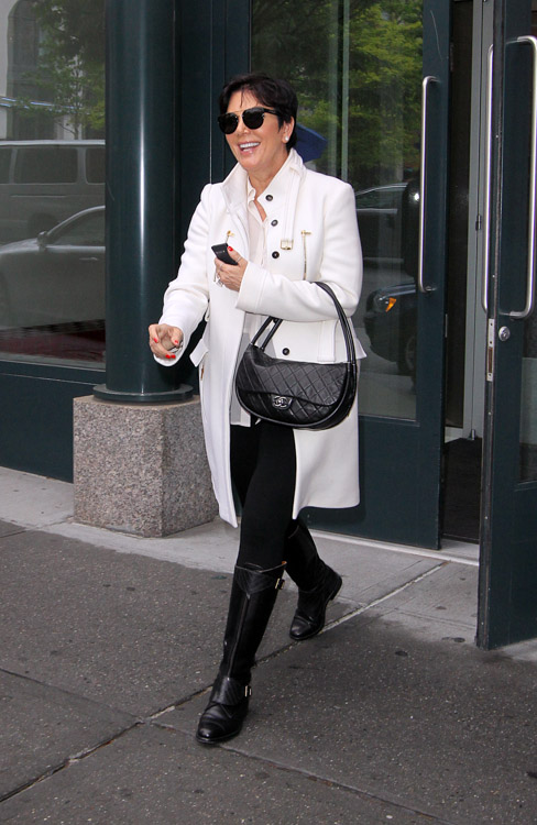 Kris Jenner carries a black Chanel Hula Hoop Flap Bag (1)