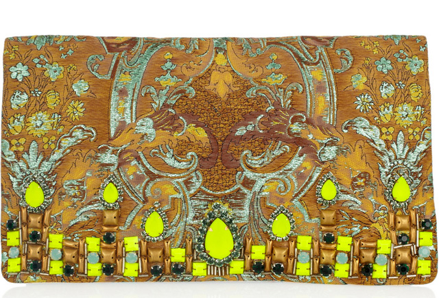 Matthew Williamson Embellished Brocade and Suede Clutch
