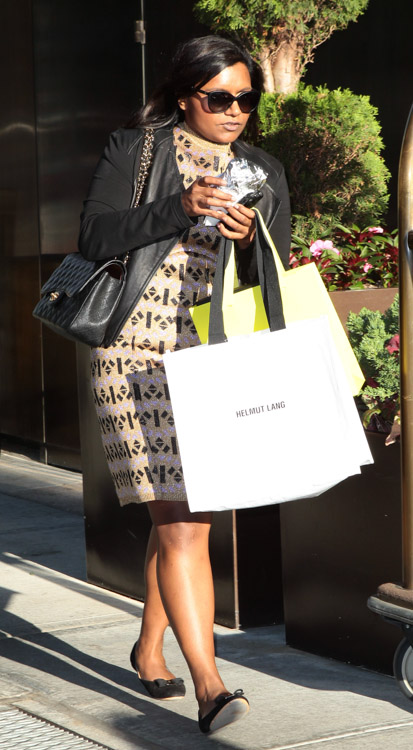 Mindy Kaling carries a black Chanel Classic Flap Bag in New York City (2)