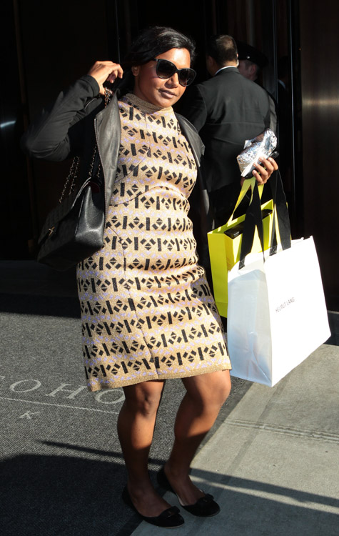 Mindy Kaling carries a black Chanel Classic Flap Bag in New York City (4)