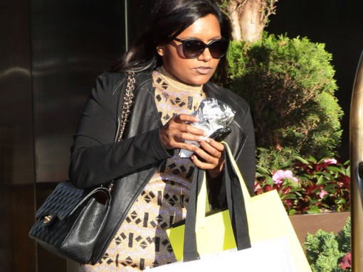 Mindy Kaling carries a black Chanel Classic Flap Bag in New York City (5)