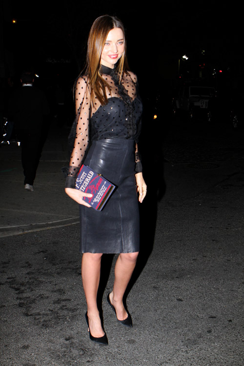 "Miranda Kerr carries an Olympia Le-Tan F. Scott Fitzgerald ""The Last Tycoon"" Book Clutch in New York City (1)"
