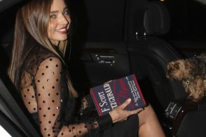 "Miranda Kerr carries an Olympia Le-Tan F. Scott Fitzgerald ""The Last Tycoon"" Book Clutch in New York City (5)"