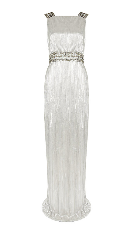 Notte by Marchesa Pleated Metallic Gown