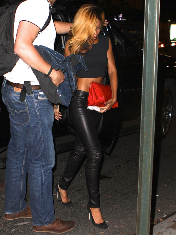 Rihanna carries a Celine Rolled Trio Clutch in NYC (2)
