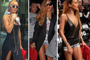 Rihanna and her Celine Roll Clutch Bag
