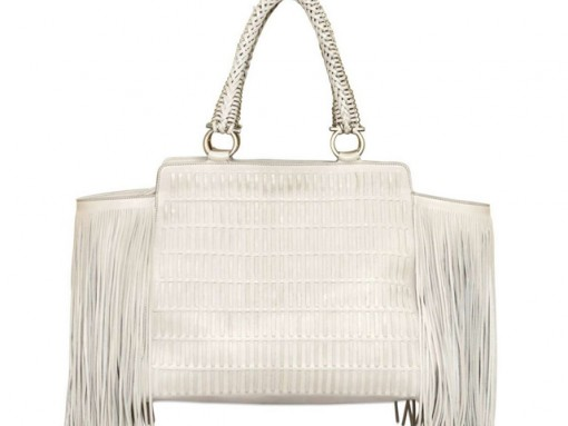 Salvatore Ferragamo Verve Fringe Woven Leather Bag