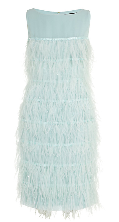 St. John Tiered Feather Cocktail Dress