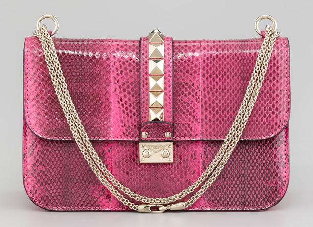Valentino Ayers Snakeskin Lock Bag