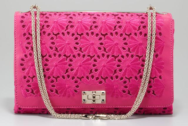 Valentino Floral Lace Cutout Shoulder Bag