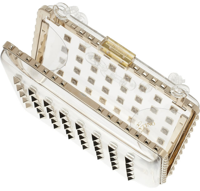 Valentino The Rockstud Studded Perspex Clutch