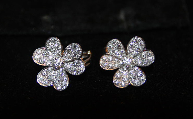 Van Cleef and Arpels Pave Diamond Earrings