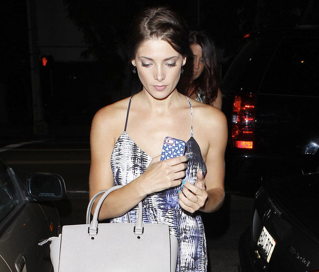 Ashley Greene carries a light grey MICHAEL Michael Kors Selma Tote Bag (5)