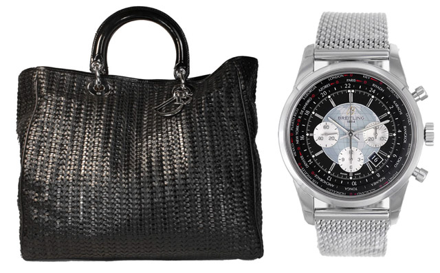 Casual Pair: Christian Dior Woven Leather Tote and Breitling Transocean Chronography Men's Watch