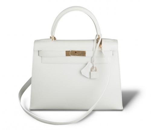 Hermes Kelly Bag White