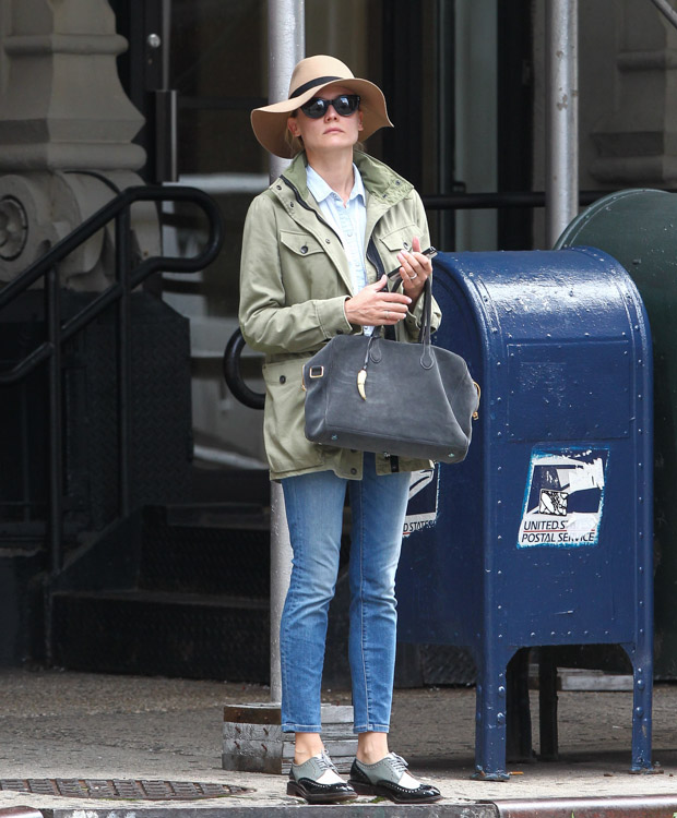Diane Kruger carries a Balmain x Aurelie Bidermann Pierre Bag in NYC (4)