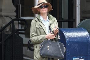 Diane Kruger carries a Balmain x Aurelie Bidermann Pierre Bag in NYC (1)