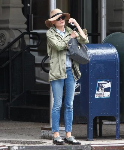 Diane Kruger carries a Balmain x Aurelie Bidermann Pierre Bag in NYC (3)