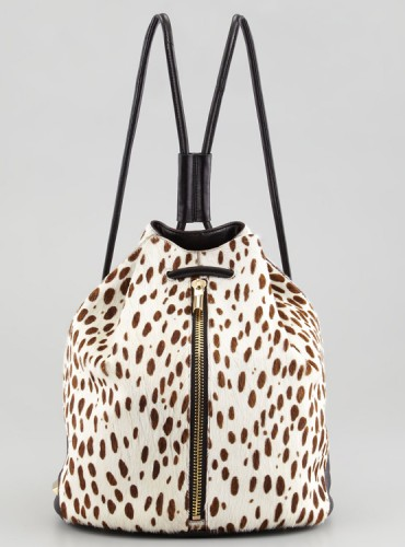 Elizabeth and James Spotted Calf Hair Drawstring Backpack
