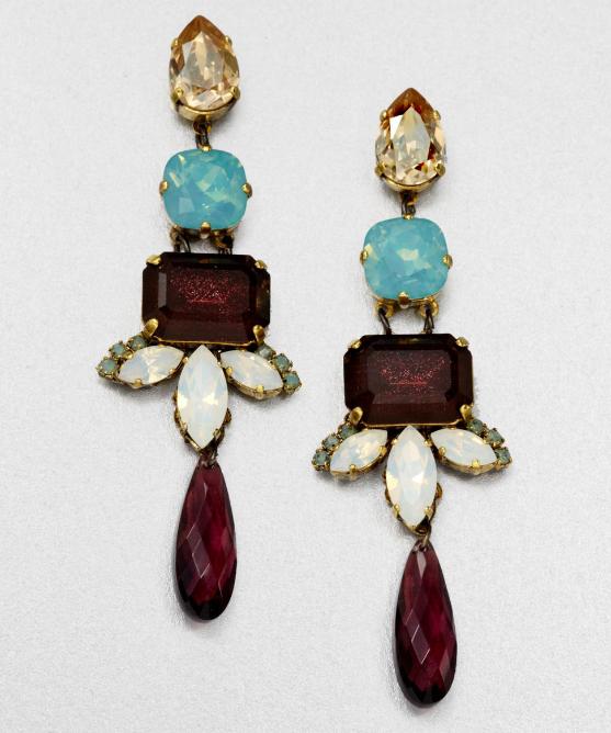 Erickson Beamon Swarovski Crystal Drop Earrings