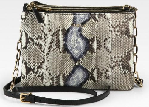 Furla Python Three Compartment Shoulder Bag