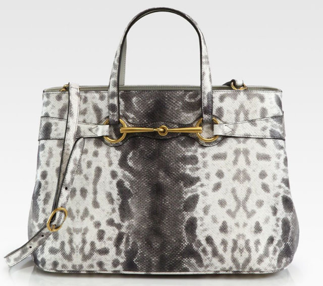 Gucci Bright Bit Snake Print Leather Tote