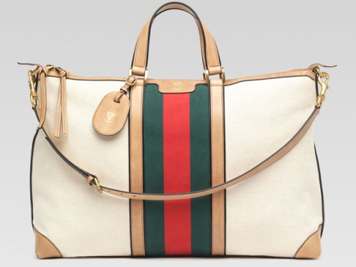 Gucci Canvas Top Handle Duffel Bag
