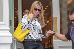 Heidi Klum carries a Michael Kors Miranda Tote in yellow. (3)