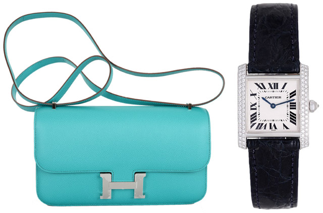 Ladylike Pair: Hermes Constance Elan Bag and Cartier Tank Francaise Diamonds Watch