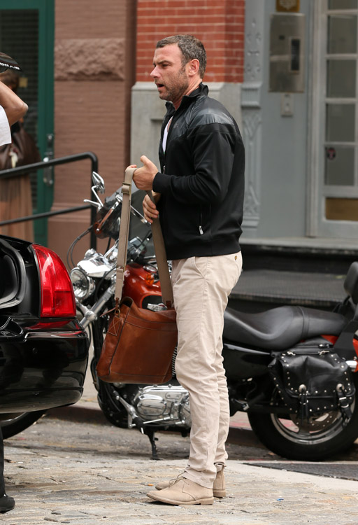 Liev Schreiber carries a Mulberry Brynmore Messenger Bag in NYC (2)