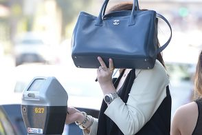 Michelle Trachtenberg carries a Chanel Cerf Tote in California (4)
