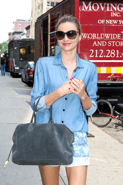 Miranda Kerr carries a grey suede Balmain x Aurelie Bidermann Pierre Bag (3)