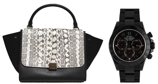 Modern Pair: Celine Trapeze Bag and Rolex Daytona Black Watch