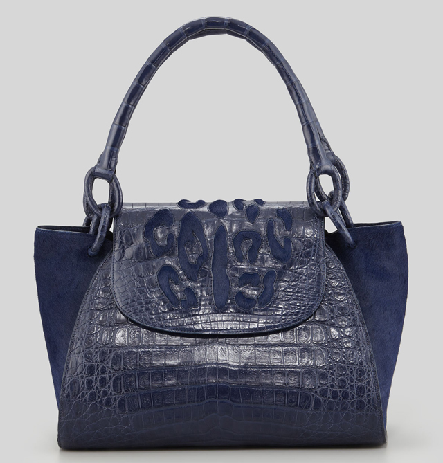 Nancy Gonzalez Crocodile and Calf Hair Leopard Spot Tote
