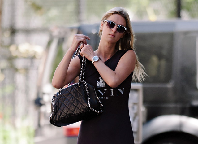 3b734fad572a Nicky Hilton carries a Chanel Quilted Chain Strap Bowler Bag in LA (5)