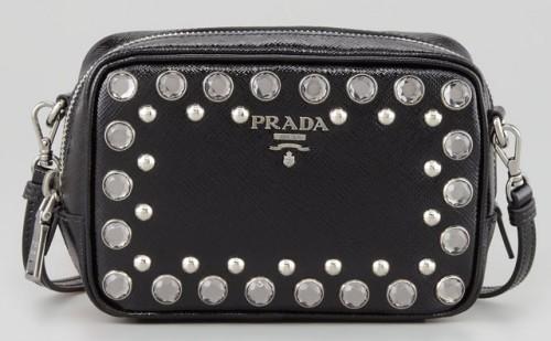 9cef9c871df001 Prada Saffiano Studded Mini Zip Crossbody - PurseBlog