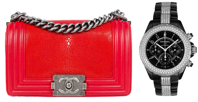 Trendy Pair: Chanel Boy Bag and Chanel J12 Diamonds Watch
