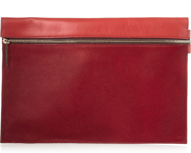 Victoria Beckham Matte Leather and Calf Hair Clutch