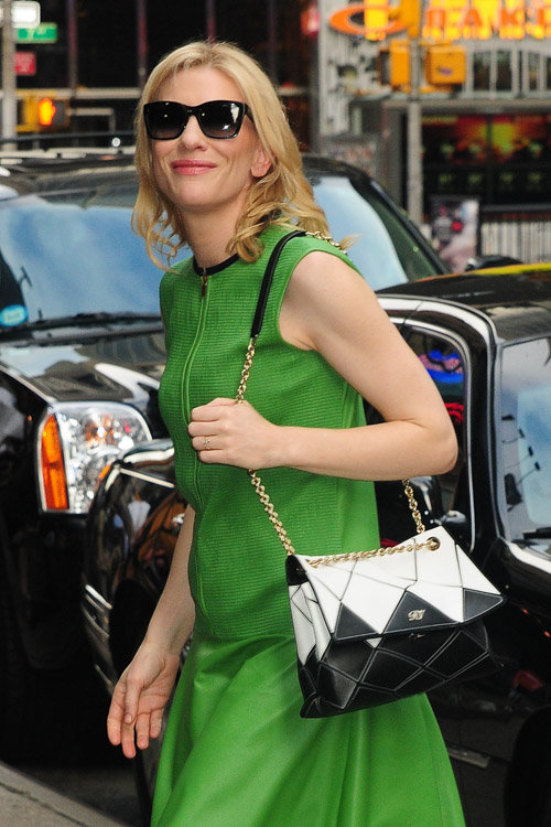 Cate Blanchett carries a Roger Vivier Prismick Bag in NYC (3)