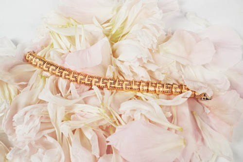 Diamond Enamel and Gold Bracelet