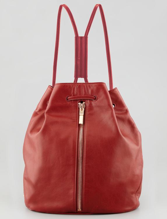 Elizabeth and James Leather Drawstring Sling Backpack