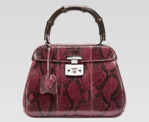 Gucci Lady Lock Python Bamboo Top Handle