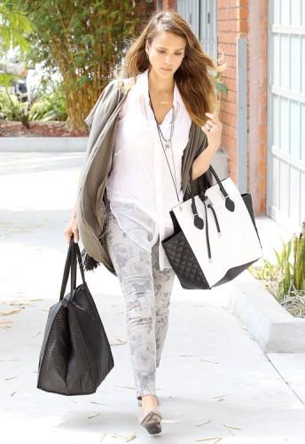 Jessica Alba carries a black and white Michael Kors Miranda Tote in LA (1)