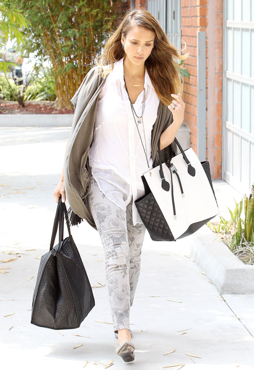 Jessica Alba carries a black and white Michael Kors Miranda Tote in LA (1)