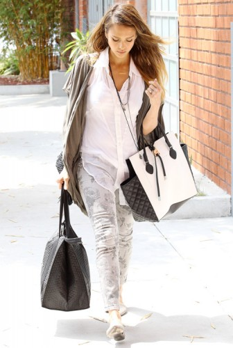 Jessica Alba carries a black and white Michael Kors Miranda Tote in LA (2)