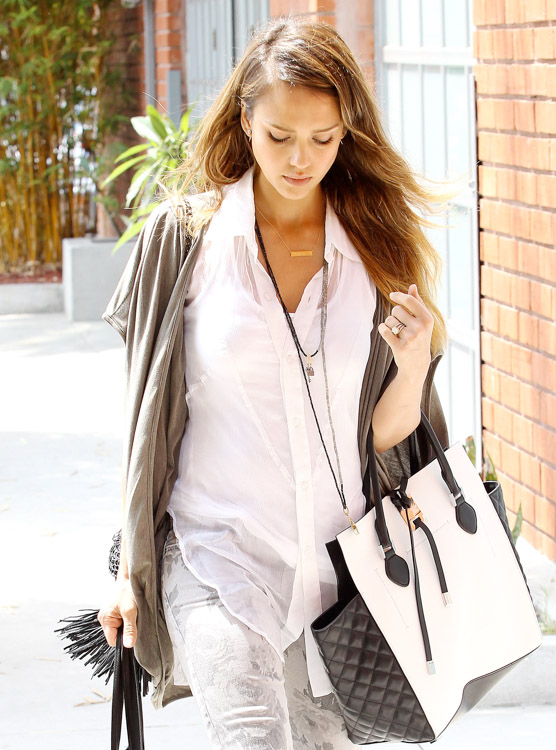 Jessica Alba carries a black and white Michael Kors Miranda Tote in LA (3)