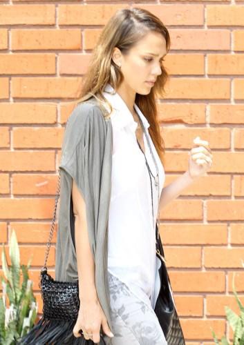 Jessica Alba carries a black and white Michael Kors Miranda Tote in LA (4)