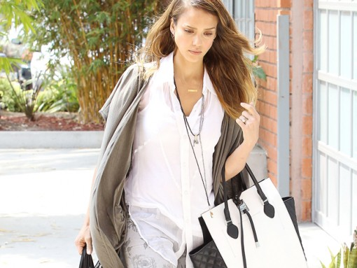 Jessica Alba carries a black and white Michael Kors Miranda Tote in LA (5)