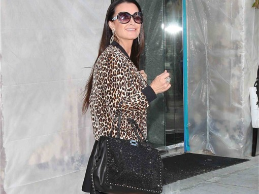 Kyle Richards carried an embroidered black Valentino Rockstud Tote in LA (5)